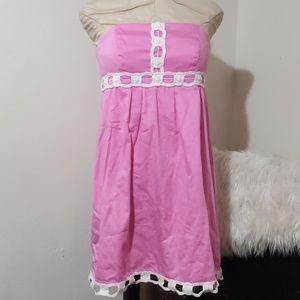 Lily Pulitizer Pink Strapless Dress w/ White Trim